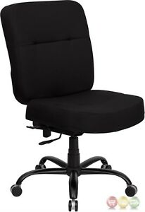 Hercules Big Tall Black Fabric Swivel Office Chair W Extra Wide Seat