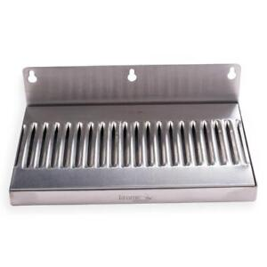 10 In Draft Beer Wall Mount Drip Tray Stainless Steel No Drain
