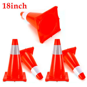 18 Inch Safety Traffic Cones Fluorescent Orange Reflective Collar 5 Packages