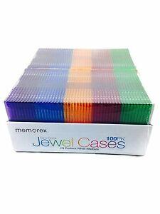 Memorex Slim Cd Jewel Cases 100 Pack 5 2mm Assorted Colors Free Shipping