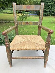 Antique Primitive Wood Hand Painted Norweigan Rosemaling Child Size Chair Aafa