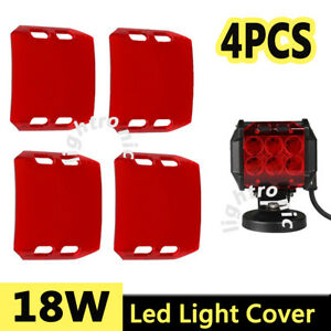 4x Snap On Red Lens Cover For 4 Inch 18w Led Work Light Bar Offroad Atv 4wd