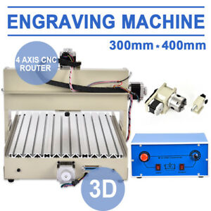 4 Axis 3040 400w Cnc Router 3d Engraver Engraving Drilling Milling Machine Art
