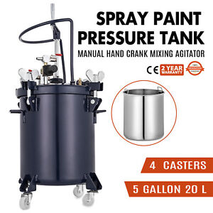 5 Gallon 20l Spray Paint Pressure Pot Tank 1 4 Air Inlet 4 Clamps Roll Caster