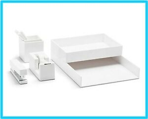 White Poppin All Set 12 piece Desk Collection Dorm Office Home Organizer