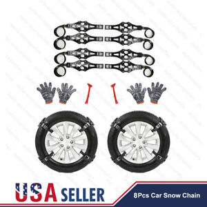 8pcs Auto Wheel Tire Snow Mud Anti Skid Chains For Car Truck Suv Emergency Belt