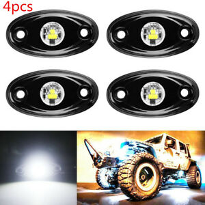 4pcs White 9w Led Rock Light For Jeep Offroad Truck Under Body Trail Work Light
