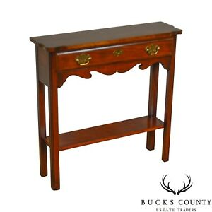 Chippendale Style Quality Cherry Narrow One Drawer Console Table