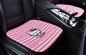 Hello Kitty Car Accessories Pink Stripe Car Front Rear Seat Cover