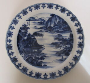 Large Antique Asian Japanese Blue White Charger Plate Pagoda Motif12 25 Wide
