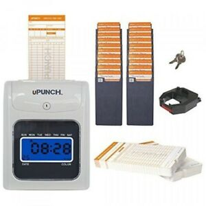 Upunch Hn3500 Time Clock Bundle With 100cards And Two 10slot Card Racks New