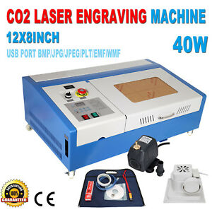 Upgraded 40w Co2 Laser Engraver Cutting Machine Crafts Usb Interface W 4 Wheels
