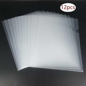L type Plastic Folder Safe Project Pockets Transparent Clear Document 12pcs