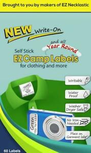 Self stick Write on Ez Camp Labels For Clothing And All Personal Items 60
