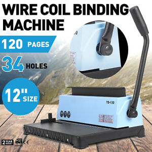 Manual Spiral Coil Binding Machine 34 Holes Puncher Documents Office 120 Sheets