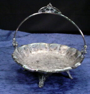 Antique James W Tufts Silver Plate Brides Basket Victorian Birds Quadruple Plate