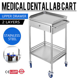Hospital Medical Dental Lab Cart Trolley Stainless Steel Two Layers Drawer Ud