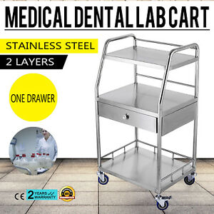 Hospital Medical Dental Lab Cart Trolley Stainless Steel 3 Layers Drawer Ud