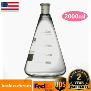 2000ml 24 40 glass Erlenmeyer Flask ground Joint Conical Bottle lab Glassware Us