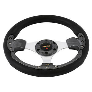 320mm Gray Pvc Leather Carbon Fiber Look Racing Steering Wheel 6 Bolt W Horn