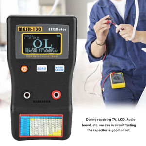 New Mesr 100 Esr low Ohm In Circuit Test Capacitor Meter Include Test Clip Probe