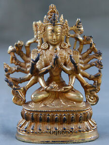 China Rare Old Antique Bronze Gilt 1000 Hands Guanyin Statue