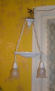 Antique Brass Double Hanging Pan Ceiling Light Refurbished In White Shabby Chic