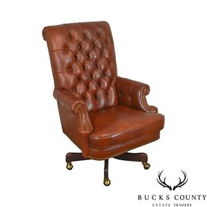 Hancock Moore Tufted Brown Leather Executive Desk Chair