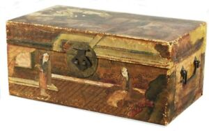 Antique Chinese Pigskin Covered Small Travel Trunk Chest Painted Domestic Scenes