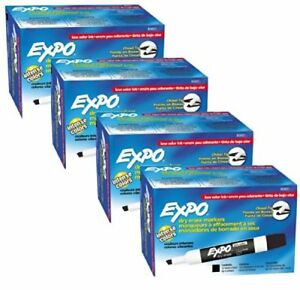 Expo 80001 Low Odor Chisel Point Dry Erase Markers Black 12 Units Per Box Of