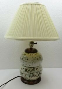 Vintage Mid Century Modern Retro 70 S Ceramic Wood Table Lamp Shade 20