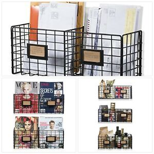 Metal Mesh Wire Basket Shelf Desktop Organizer Storage Rack Wall Mounted