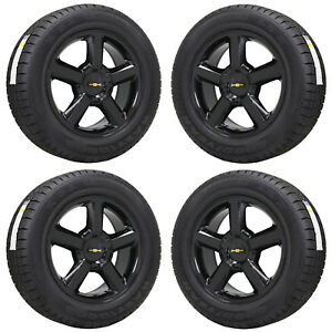 20 Chevrolet Silverado 1500 Truck Black Wheels Rims Tires Factory Oem Set 5308