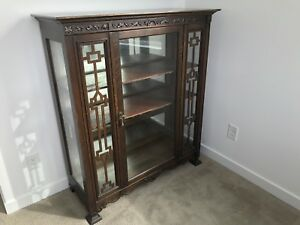 Vintage Edwardian Cherry Wood Antique Showcase 1800 s Excellent Condition