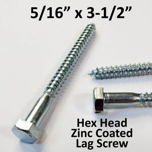 280 5 16 X 3 1 2 Lag Screws White Zinc Hex Head Heavy Duty Wood Lag Bolts