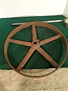 Antique 17 Cast Iron Wheel Industrial Steampunk Lamp Base Project