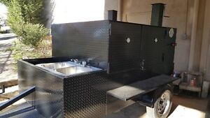 Double Rib Master W Sink Bbq Smoker Trailer Food Truck Concession Stre
