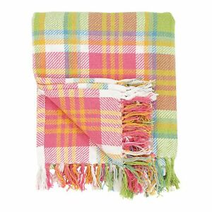 Cf Home 100 Cotton Woven Throw Blanket Plaid Pattern In Shades Of Pink Orange