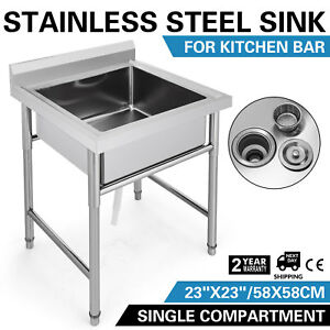 Stainless Steel Handmade Prep Utility Sink Classic Design Service Wash Table