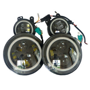 2007 2017 Jeep Wrangler Jk Halo Led Headlight Halo Led Drl Fog Light Combo Kit