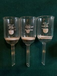 Pyrex Glass Buchner Funnels 60ml Astm 40 60 Micron lot Of 3