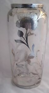Art Nouveau Ornate Sterling Silver Overlay Clear Etched Glass Flower Vase