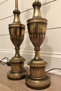 Beautiful Rare Vintage Pair Of Stiffel Brass Hollywood Mcm Candlestick Lamps Set