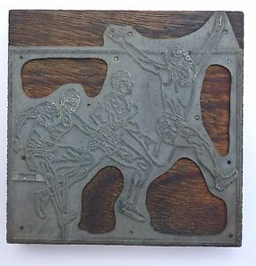 Israel Vintage Letterpress Printers Block Athletics Metal On Wood Stamp Type