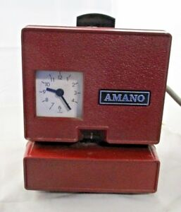 Vintage Red Amano Time Card Punch Clock Works Great No Key