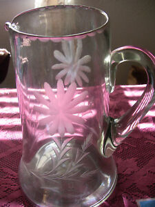 Antique Etched Glass Pitcher
