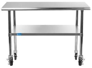 Work Table With 4 Casters Wheels Stainless Steel Food Prep Worktable 18 x36