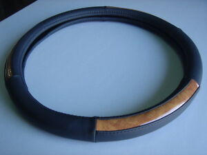 Car Steering Wheel Leather Cover Black With Plastics Wood Grain M Size