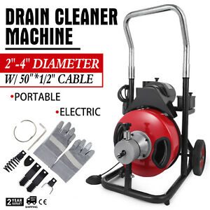 50ft 1 2 Drain Auger Pipe Cleaner Machine Commercial W cutter Heavy Duty
