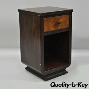 Steel Metal Art Deco Painted Nightstand By Norman Bel Geddes For Simmons